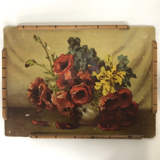 TRA0084 TRAY, Poppies w Bamboo Edge $12.50