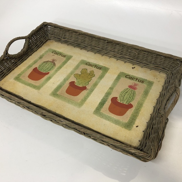 TRA0088 TRAY Wicker w Cactus - Large $7.50
