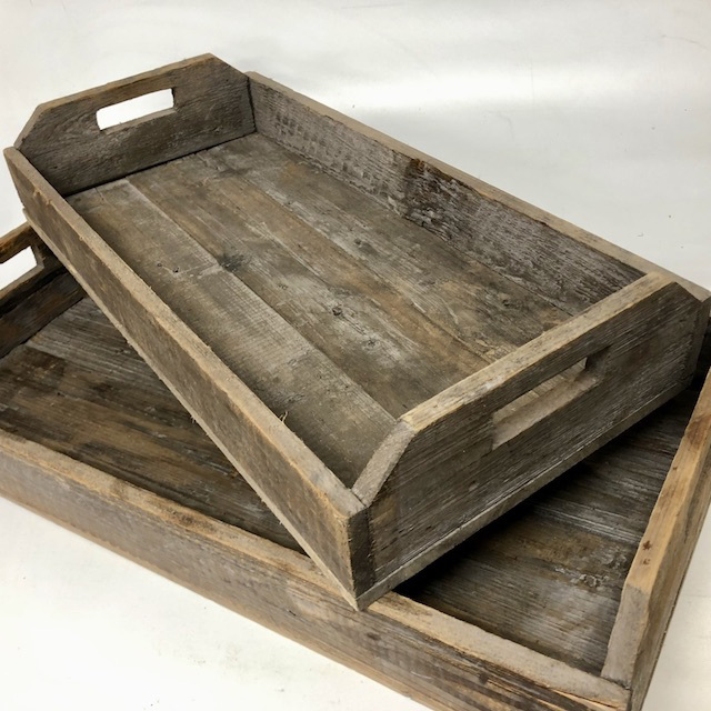 TRA0061 TRAY, Rustic Wood - 2 sizes (67cm x 33.5cm & 58cm x 29cm) $11.25