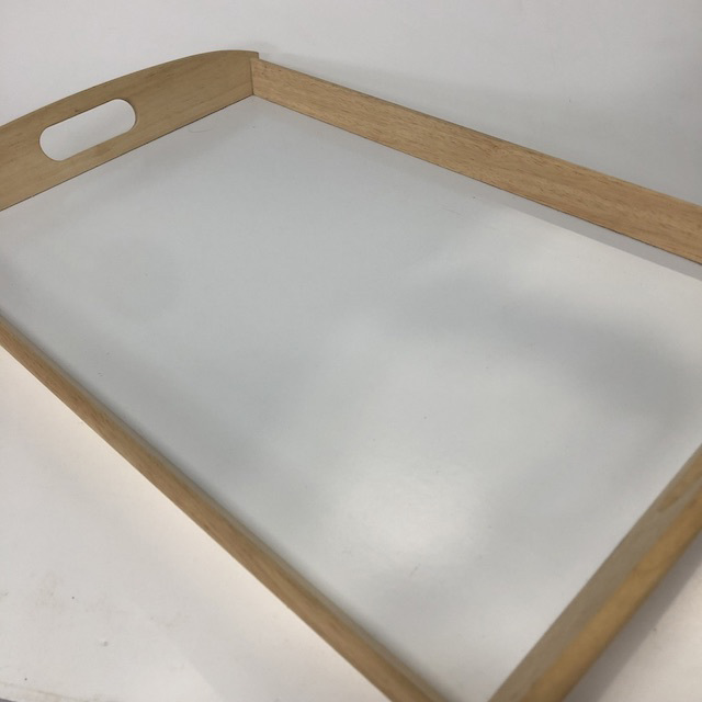 TRA0089 TRAY, Wooden w White Inset - Large $5