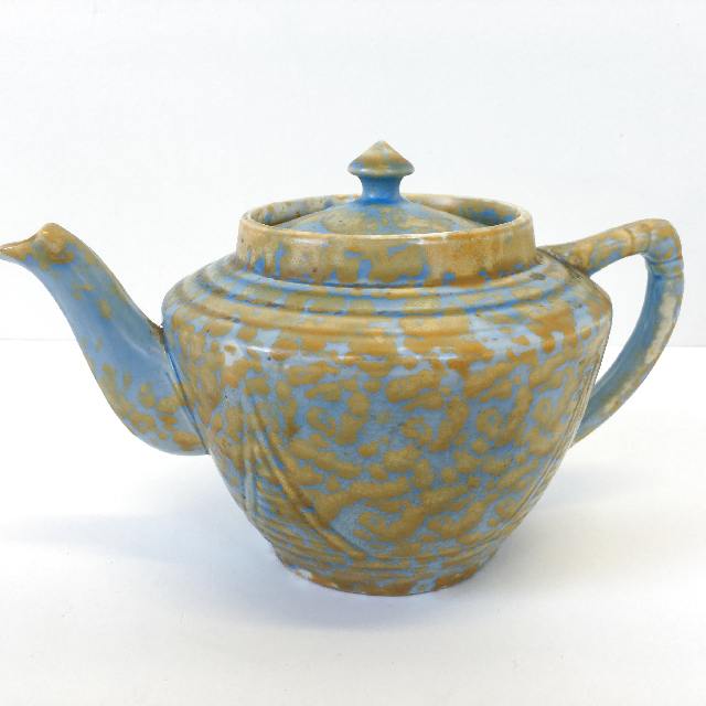 TEA0010 TEA POT, Blue Brown Speckle 1920's $15