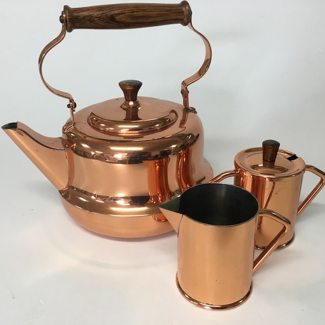 TEA0038 Copper Milk Jug or Sugar Bowl $5 each & KET0027 KETTLE