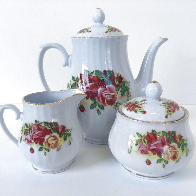 TEA0031 TEA SET, Floral Bone China (3 Piece) $15