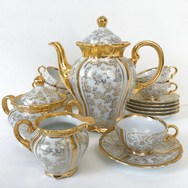 TEA0030 TEA SET, Gold Bone China (Tea Pot Missing) $15