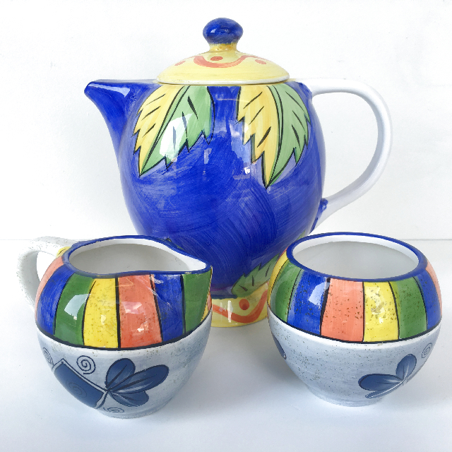 TEA0033 TEA POT, Painted Colourful (3 Piece) $15