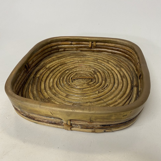 TRA0100 TRAY, Bamboo and Brass Indian Style $7.50