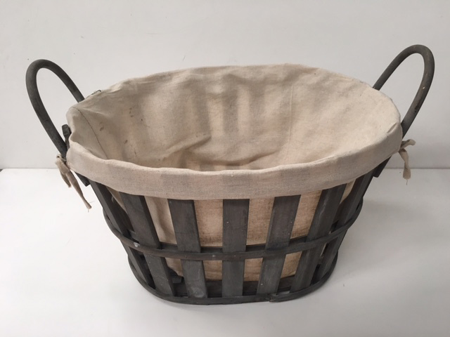 BAS0210 BASKET, Laundry - w Lining (Grey) $12.50
