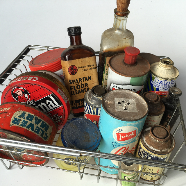 Collection of Vintage Tins & Bottles