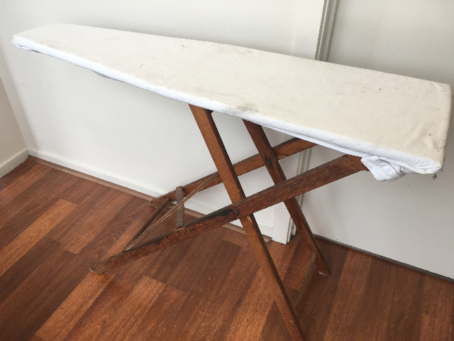IRO0051 IRONING BOARD, Vintage Timber w Cover $30