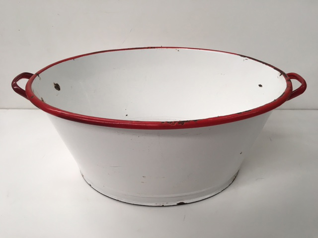 TUB0001 TUB, White Enamel w Red Rim $18.75