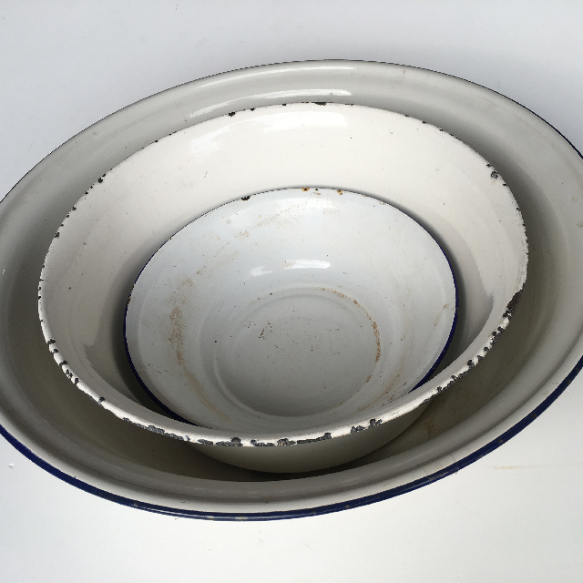 BOWL, Wash Bowl White Enamel Small $7.50 / Medium $13.75 / Large $18.75