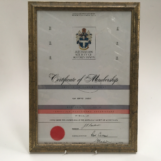 CER0001 CERTIFICATE,  Accounting - Certificate Of Membership $15