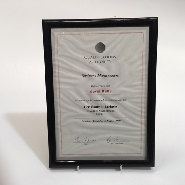CER0003 CERTIFICATE,  Business Management Kevin Bully $7.50