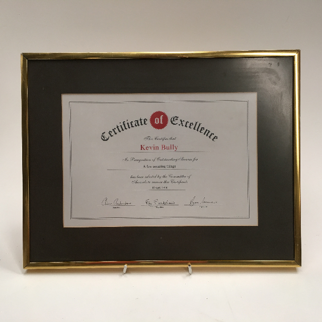 CER0004 CERTIFICATE, Cert Of Excellence Kevin Bully $7.50