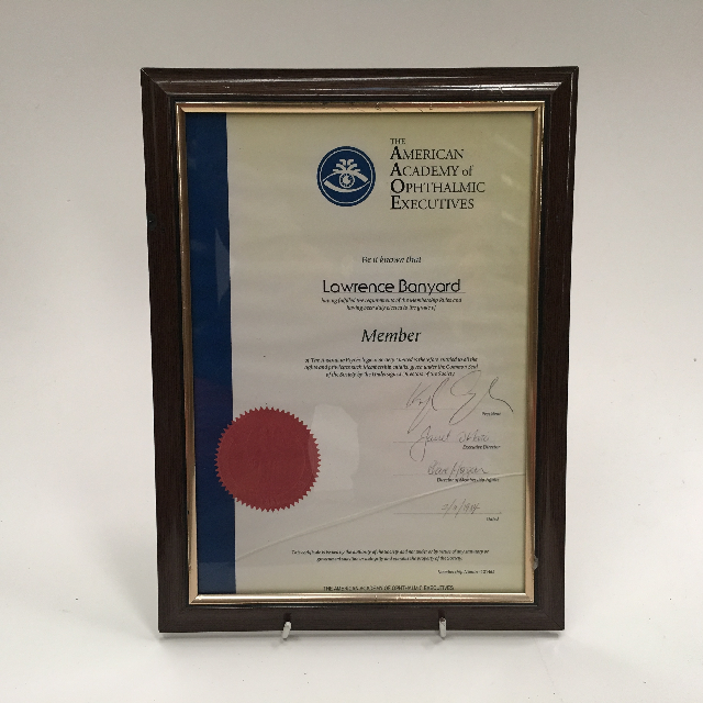 CER0007 CERTIFICATE, American Academy Of Opthalmic Executives $7.50