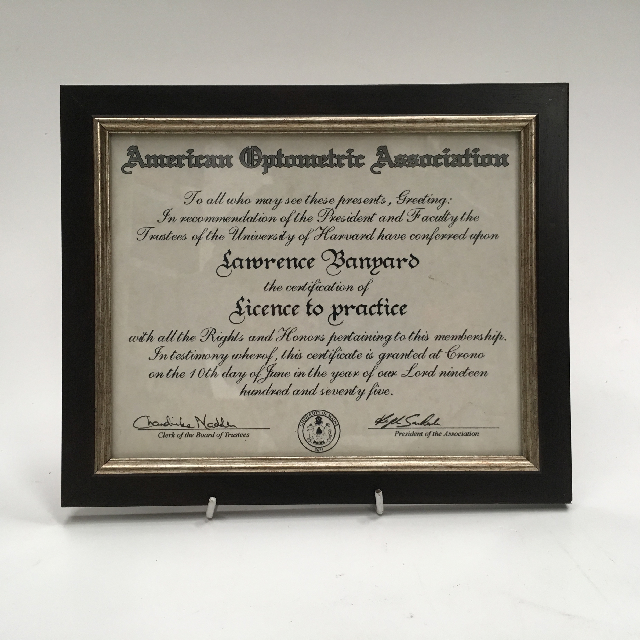 CER0008 CERTIFICATE, American Optometric Association $7.50