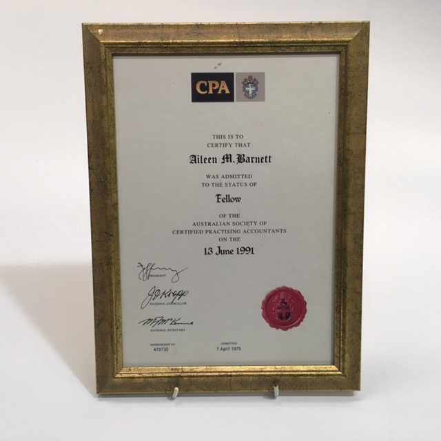 CER0011 CERTIFICATE, CPA Fellow $7.50