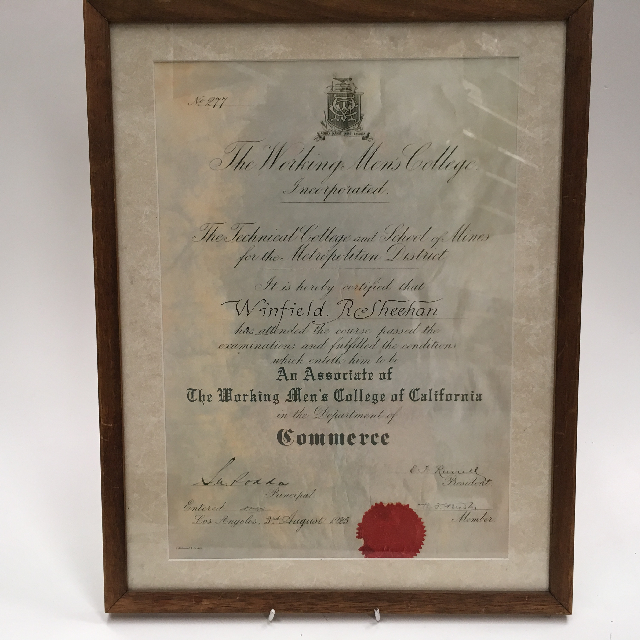 CER0010 CERTIFICATE, Commerce - Working Mans College $15