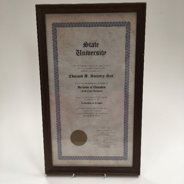 CER0012 CERTIFICATE, Education - State University $11.25