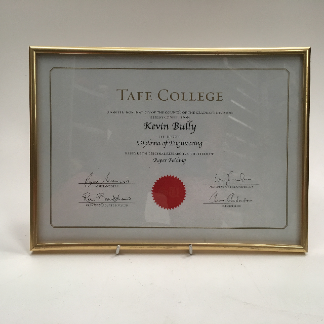 CER0013 CERTIFICATE, Engineering Diploma - Tafe College $7.50