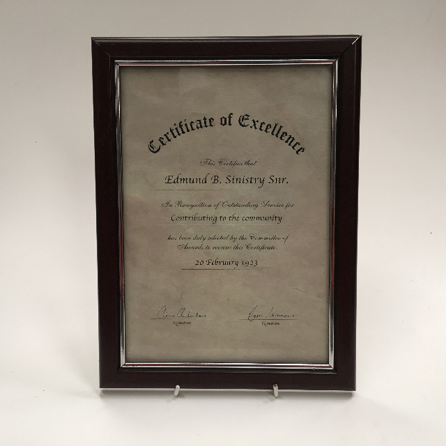 CER0014 CERTIFICATE, Excellence $7.50