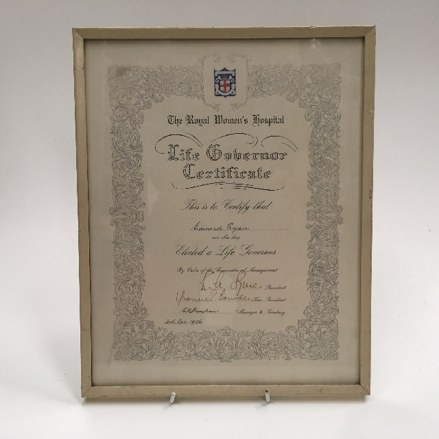 CER0016 CERTIFICATE, Medical Life Governor - Royal Womens Hospital $15