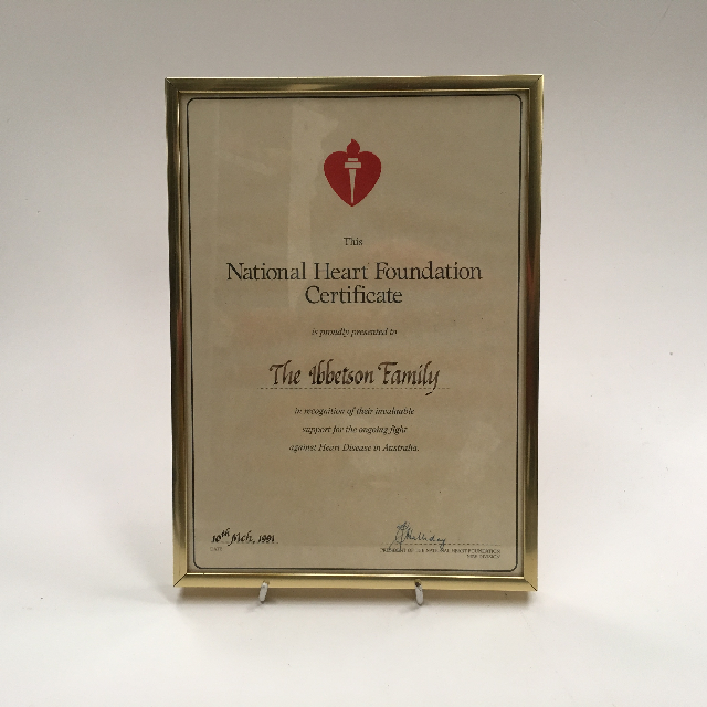 CER0018 CERTIFICATE, National Heart Foundation $7.50