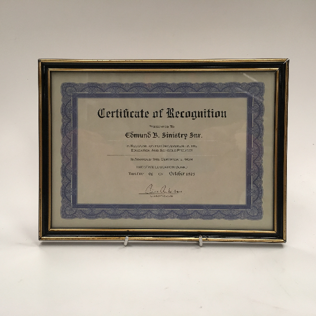 CER0021 CERTIFICATE, Recognition $7.50