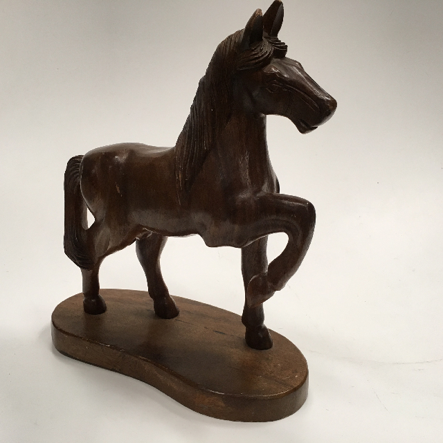 DEC0053 DECOR, Horse - Carved Timber 35cm Tall $11.25