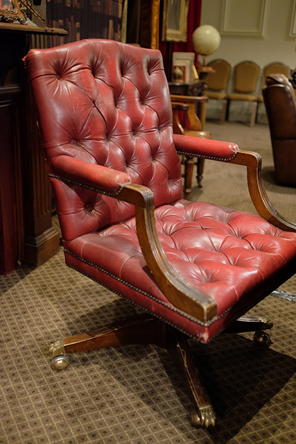 CHA0451 CHAIR, Chesterfield Desk Chair - Red Leather $100