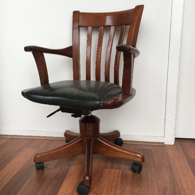 CHA0358 CHAIR, Timber Desk Chair - Slat Back Green Leather Captain Style $75