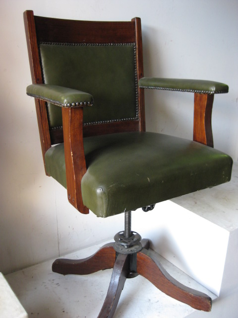 CHA0356 CHAIR, Timber Desk Chair - Captain's Chair Olive Green Leather $87.50
