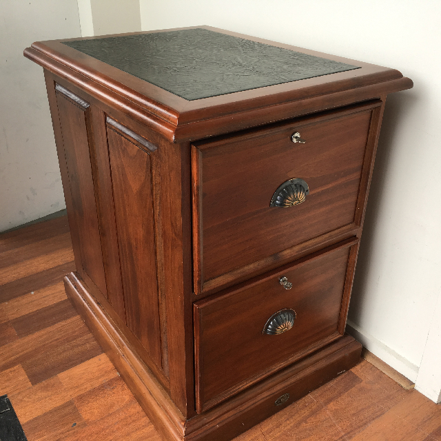 FIL0021 FILING CABINET, Timber w Leather Inlay $50
