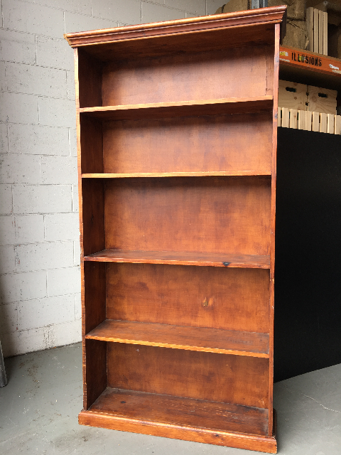 BOO0200 BOOKCASE, Timber Shelves 90cm x 180cm H $50