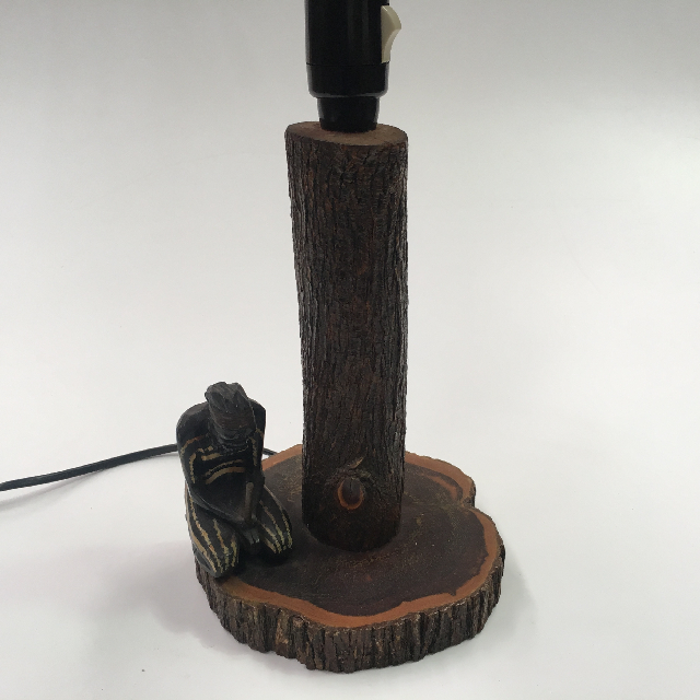 LAM0345 LAMP, Base (Table) - 1960s Tree Bark with Kneeling Man $15