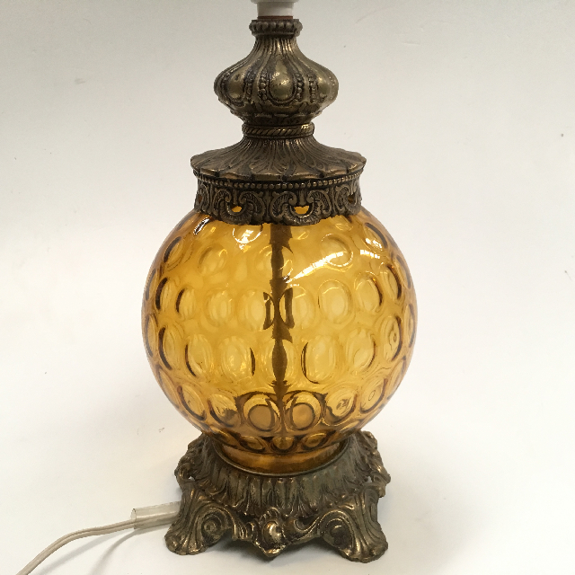 LAM0354 LAMP, Base (Table) - 1970s Amber Bubble Glass and Brass $18.75