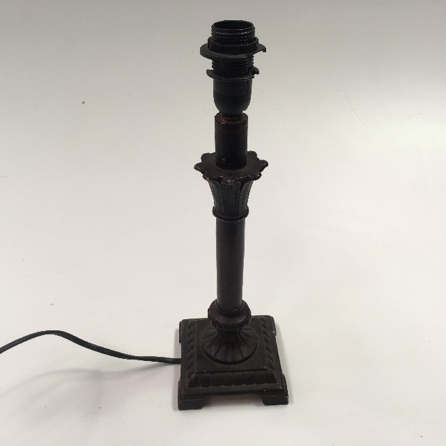 LAM0364 LAMP, Base (Table) - Brass Empire Style, Blackened w Square Base (Small) $10