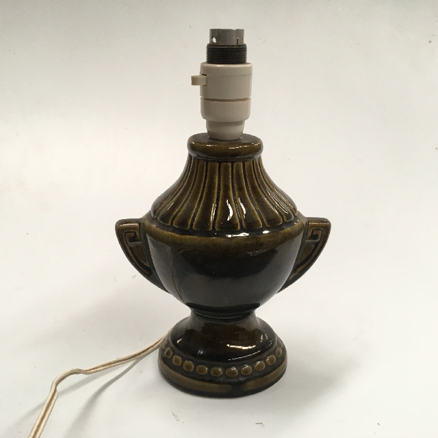 LAM0670 LAMP, Base (Table) - 1960s Olive Glaze (Small) $12.50
