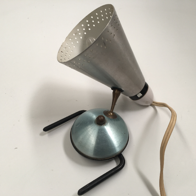 LAM0602 LAMP, Bedside Light (Clip On) - 1950s 60s Blue Silver Anodised $7.50