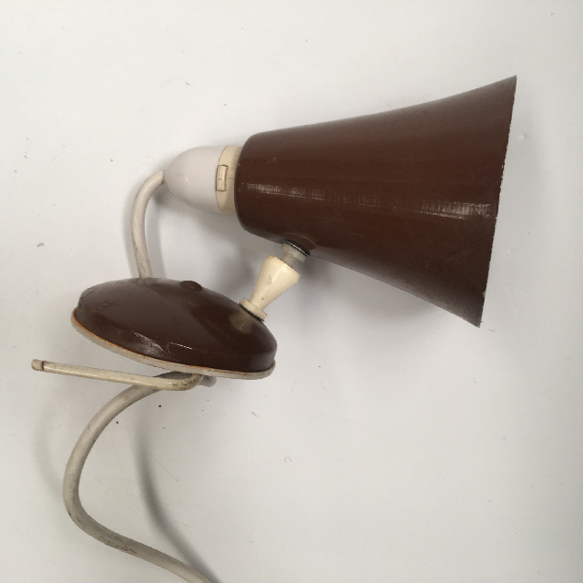 LAM0606 LAMP, Bedside Light (Clip On) - 1970s Brown $7.50