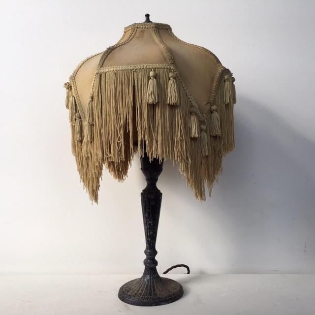LAM0409 LAMP, Table Lamp (Victorian) - Brass Base w Beige Fringed Shade $45