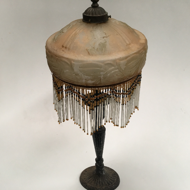 LAM0407 LAMP, Table Lamp (Victorian) - Brass Base w Opaque Glass and Beaded Shade $45