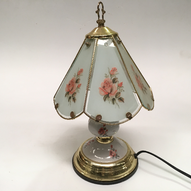 LAM0552 LAMP, Table Lamp - Touch Lamp, Floral Glass Panels w Brass $12.50