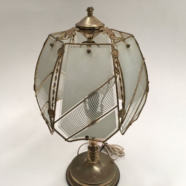 LAM0553 LAMP, Table Lamp - Touch Lamp, Opaque Glass Panels w Brass $15