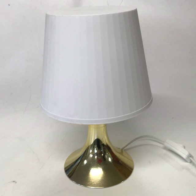 LAM0550 LAMP, Table Lamp - White Plastic w Gold Base (Small) $7.50