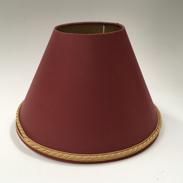 LAM0963 LAMPSHADE, Cone (Small) -  Rust Red w Gold Braid $7.50