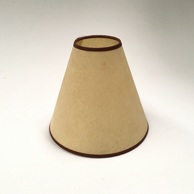LAM0981 LAMPSHADE, Cone (Small) - Parchment w Brown Trim $7.50