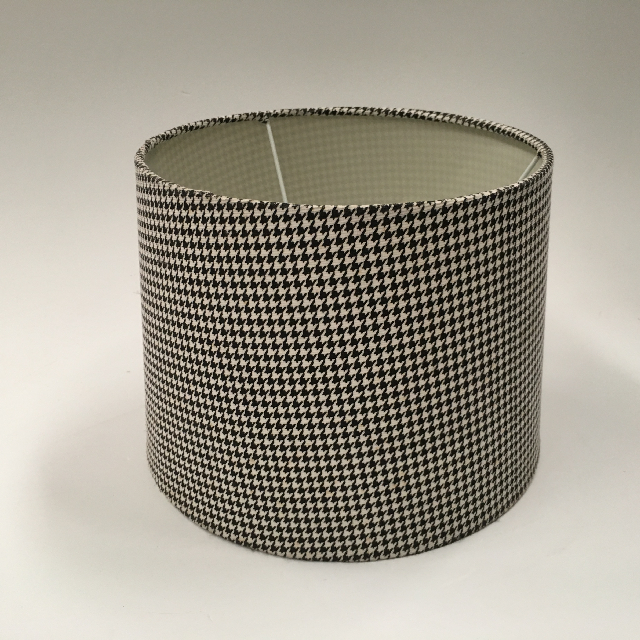 LAM1107 LAMPSHADE, Contemp (Small) - Drum, Black White Houndstooth $10