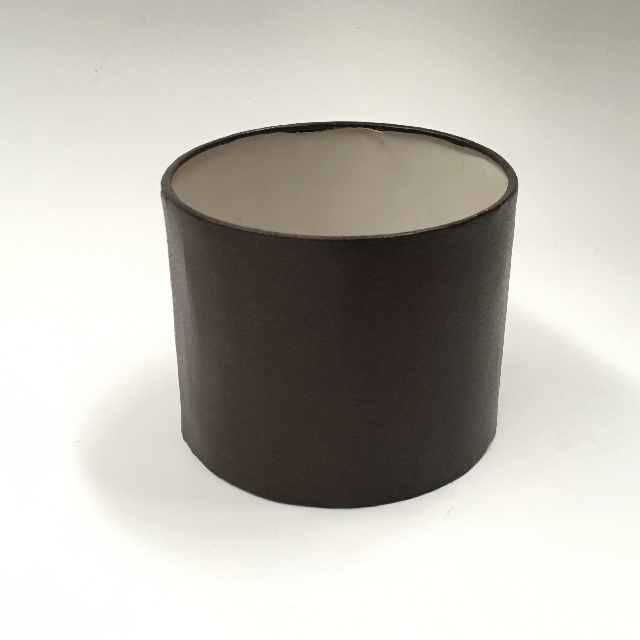LAM1108 LAMPSHADE, Contemp (Small) - Drum, Brown Leatherette $7.50