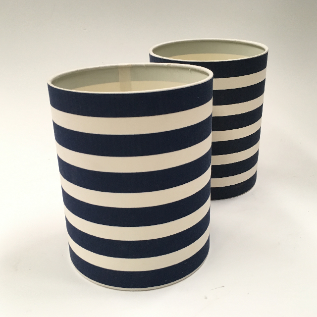 LAM1117 LAMPSHADE, Contemp (Small) - Navy Blue and White Stripe $6.25